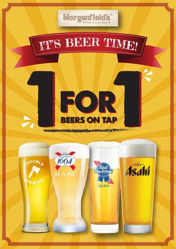 T&Cs: Available from 1 October - 31 October 2020. Applicable for dine-in only. Applicable to all beers on tap. The lowest-priced item will be the free item. Applicable at all Morganfield's outlets. No splitting of bills allowed. Not applicable with other promotions or discounts. Prices are subjected to prevailing service charge and GST. The restaurant reserves the rights to amend any T&Cs without prior notice.