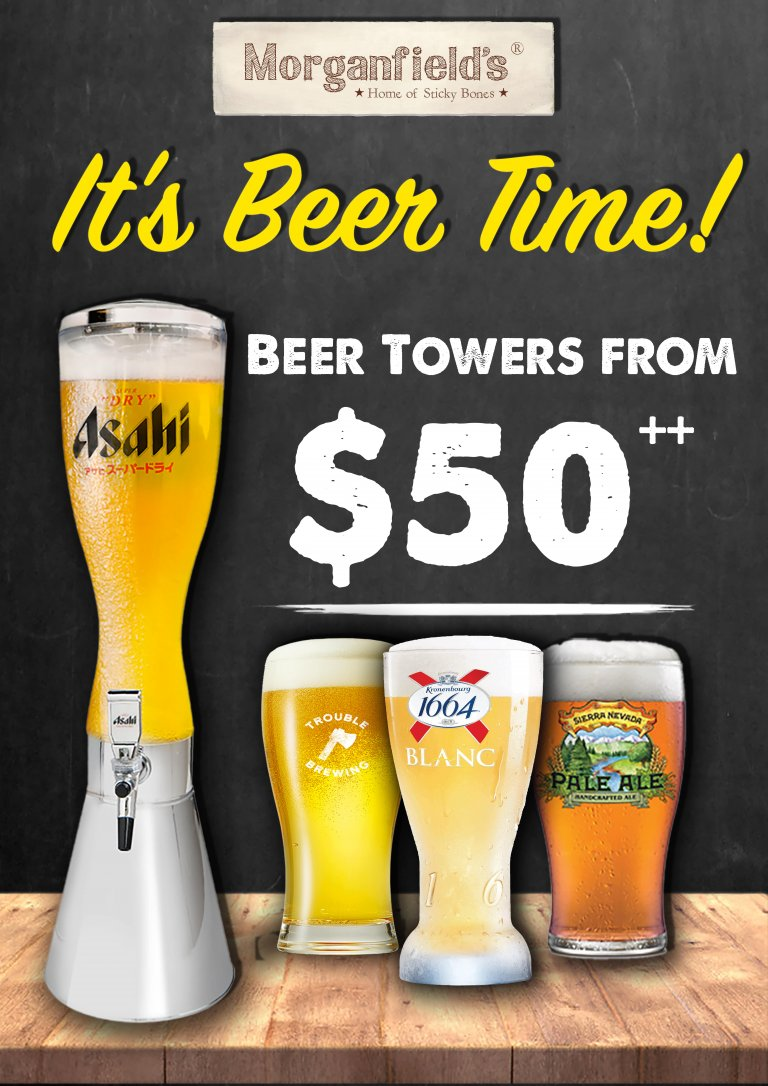 Gather your beer buddies and toast to a new year at Morganfield's @ Suntec City! Grab yourself a beer tower for prices as low as $50! Choose from the various beers like Pabst Blue Ribbon, Asahi Super Dry, Kronenburg Blanc, and Sierra Nevada! Available exclusively at Suntec outlet.