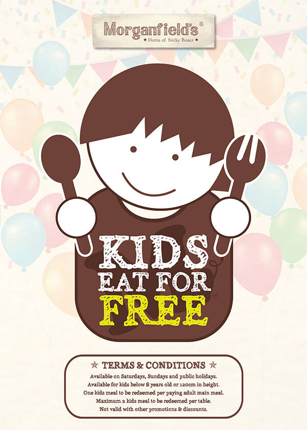 T&Cs: Available on Saturdays, Sundays and public holidays. Available for kids below 8 years old or 120cm in height. One kids meal to be redeemed per paying adult main meal. Maximum 2 kids meal to be redeemed per table. Not valid with other promotions & discounts.